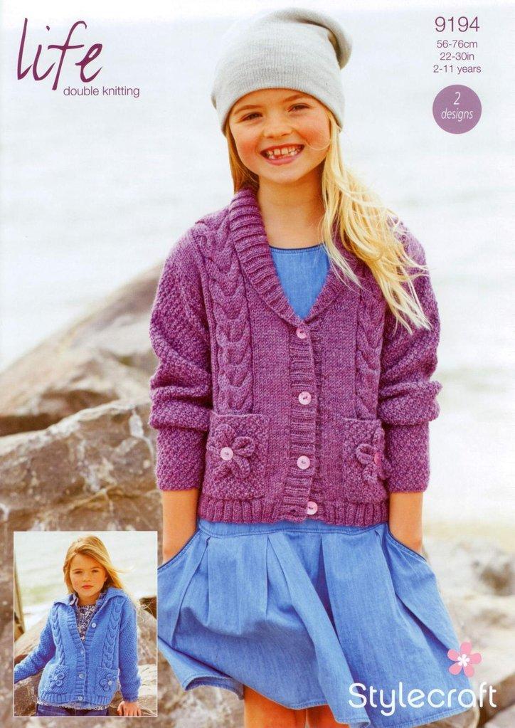 Stylecraft 9194 Knitting Pattern Girls Cardigans in Stylecraft Life DK -...