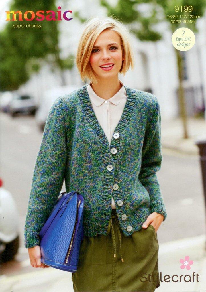 Stylecraft 9199 Knitting Pattern Jumper And Cardigan In Mosaic Super