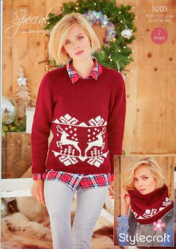 Stylecraft 9203 Knitting Pattern Ladies Christmas Jumper and Snood in Stylecraft Special DK