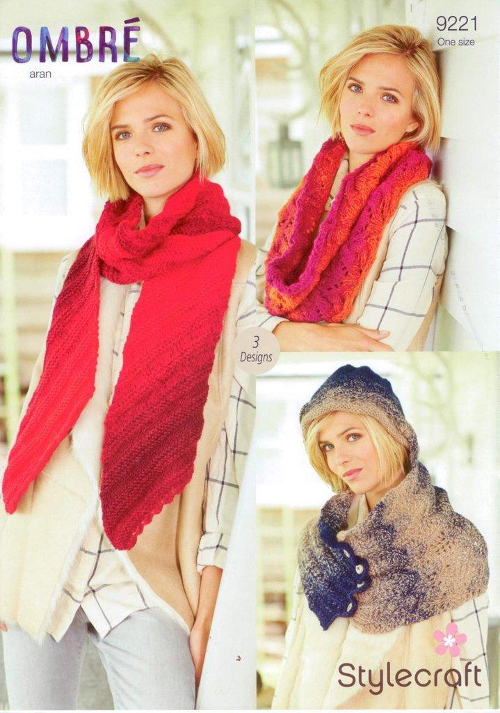 Stylecraft 9221 Knitting Pattern Scarf Cowl And Snood In Stylecraft