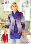 Stylecraft 9219 Knitting Pattern V Neck Cardigan and Waistcoat in Stylecraft Ombre