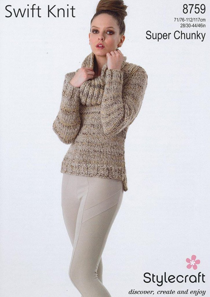 Super Chunky Jumper Knitting Pattern : Stylecraft 8759 Knitting Pattern Sweater in Stylecraft Swift Knit Super Chunk...