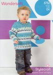 Stylecraft 8752 Knitting Pattern Childrens Sweaters in Wondersoft DK