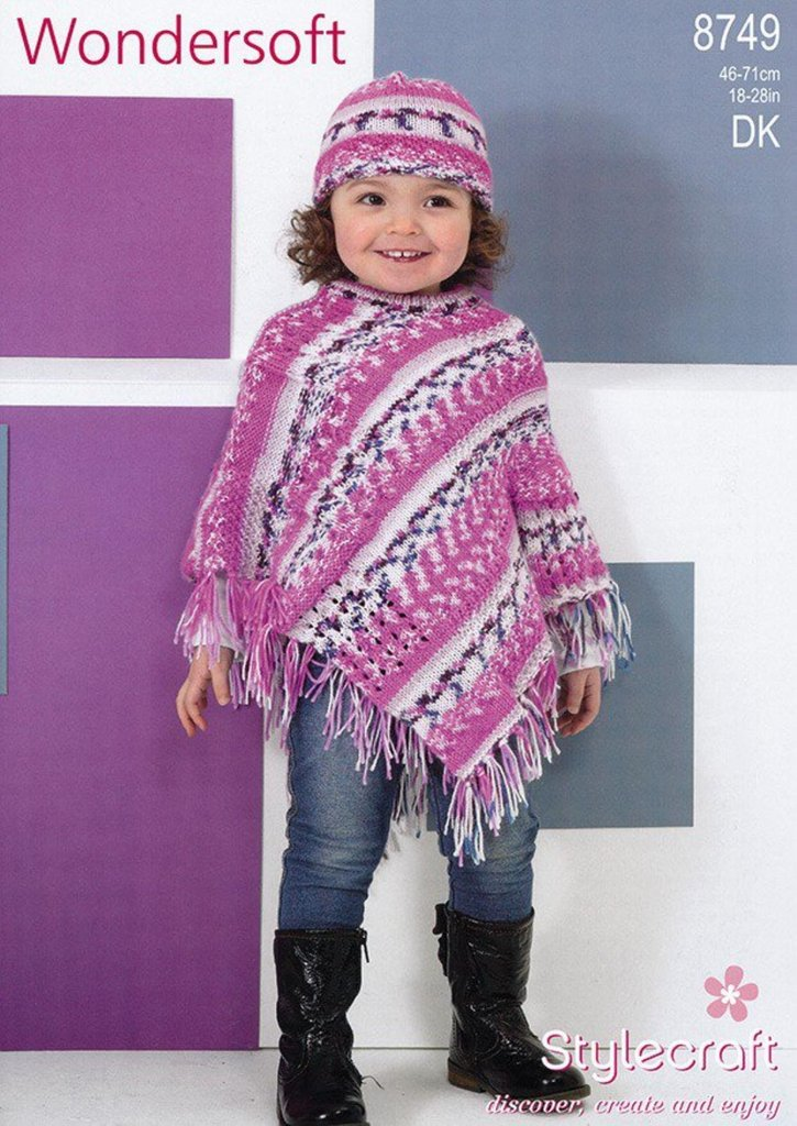 Stylecraft 8749 Knitting Pattern Girls Poncho And Hat In