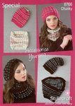 Stylecraft 8766 Knitting Pattern Ladies Beanie Hat Cowl Special Chunky