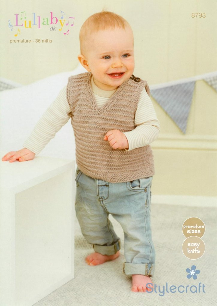 Stylecraft 8793 Knitting Pattern Babies Sweater And Tank Top In
