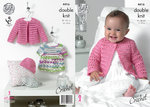 King Cole 4416 Crochet Pattern Baby Dress, Cardigan and Hat in King Cole Cherish DK