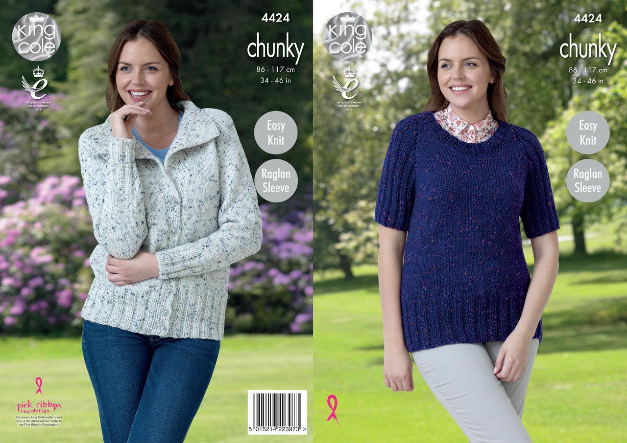 Ladies Raglan Cardigan Knitting Pattern : King Cole 4424 Knitting Pattern Raglan Sleeve Jacket and Sweater in Chunky Tw...