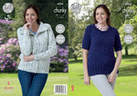 King Cole 4424 Knitting Pattern Raglan Sleeve Jacket and Sweater in Chunky Tweed