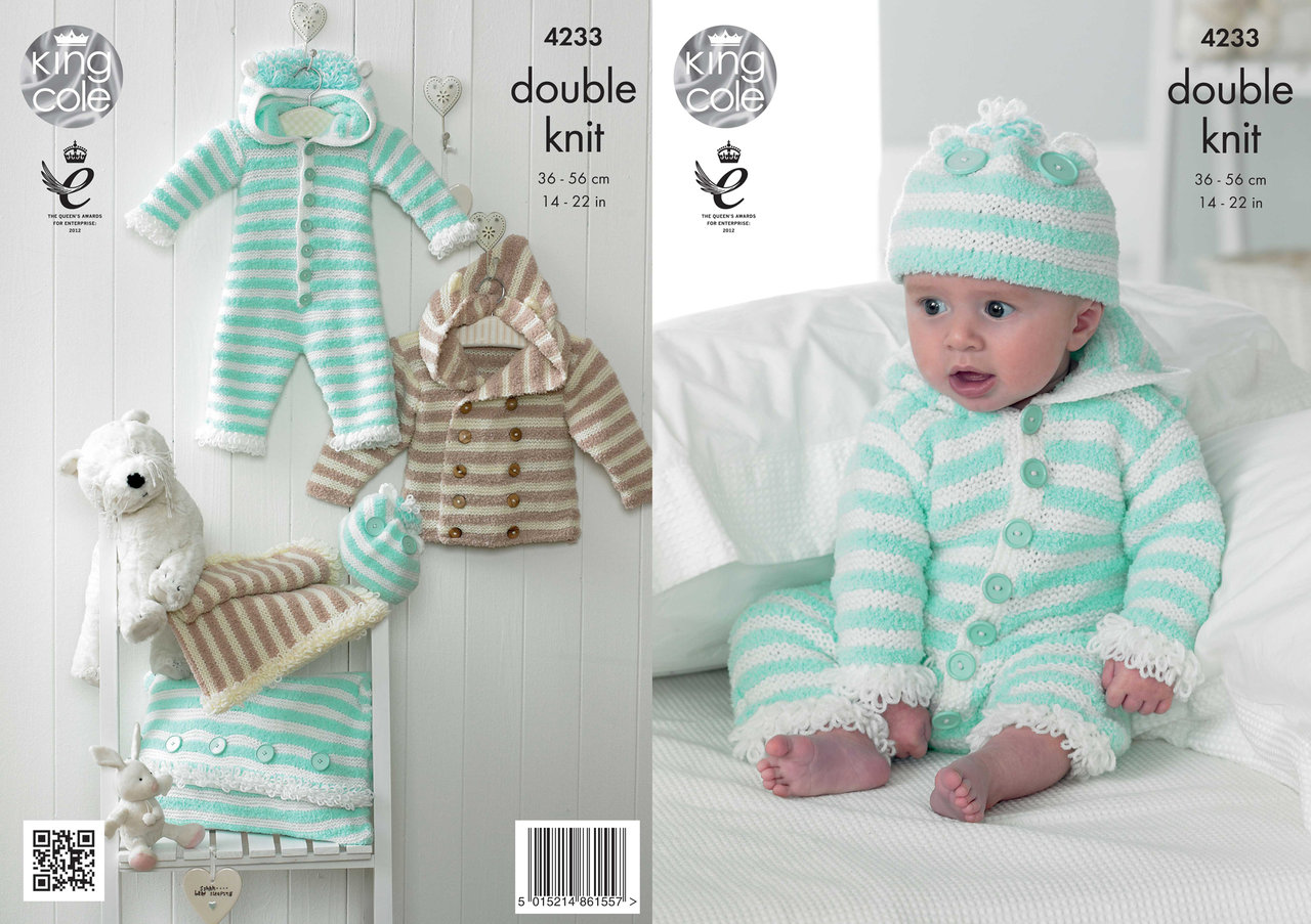 King Cole 4233 Knitting Pattern Baby Set in King Cole Cuddles DK and Big Valu...