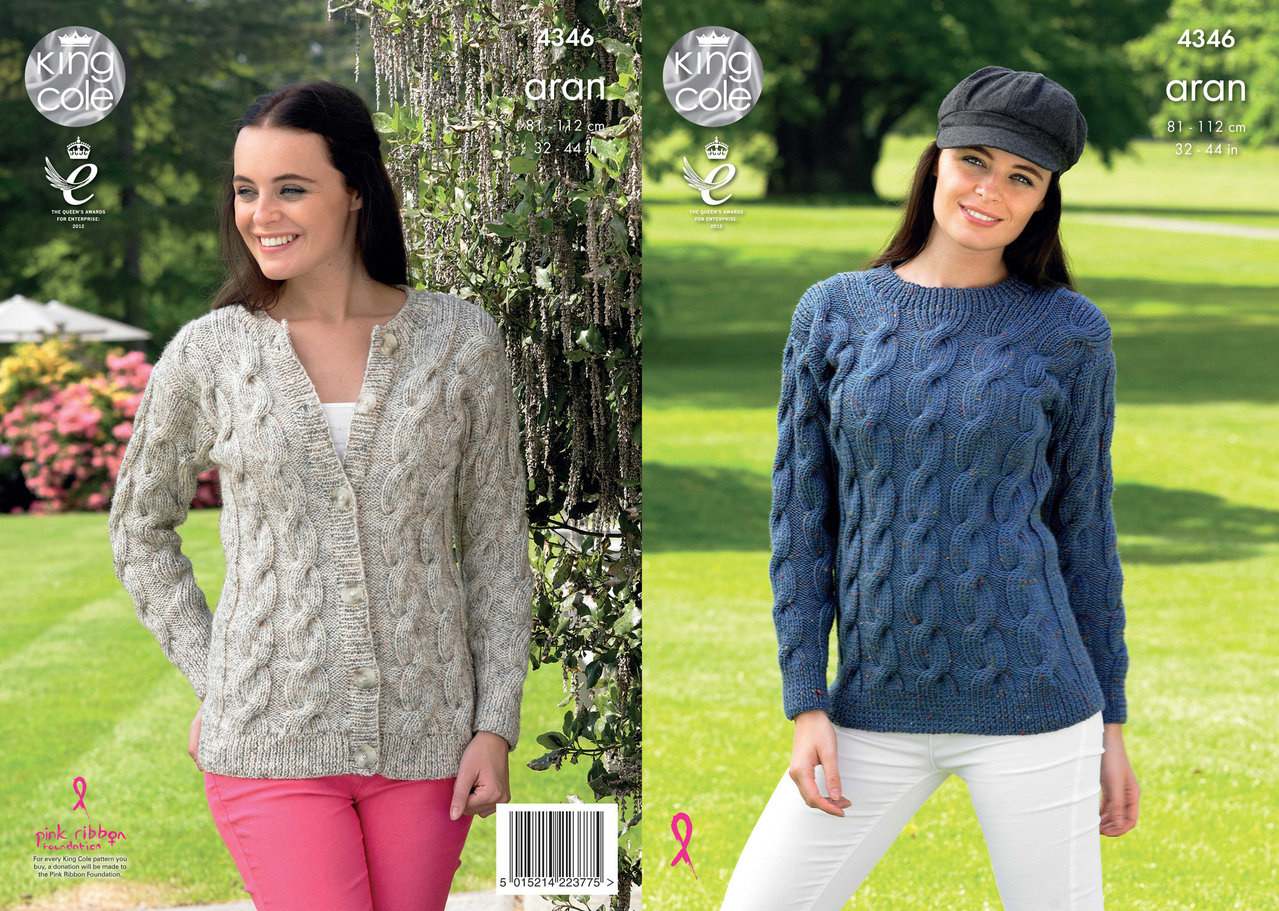 King Cole 4346 Knitting Pattern Sweater and Cardigan in King Cole Fashion Ara...