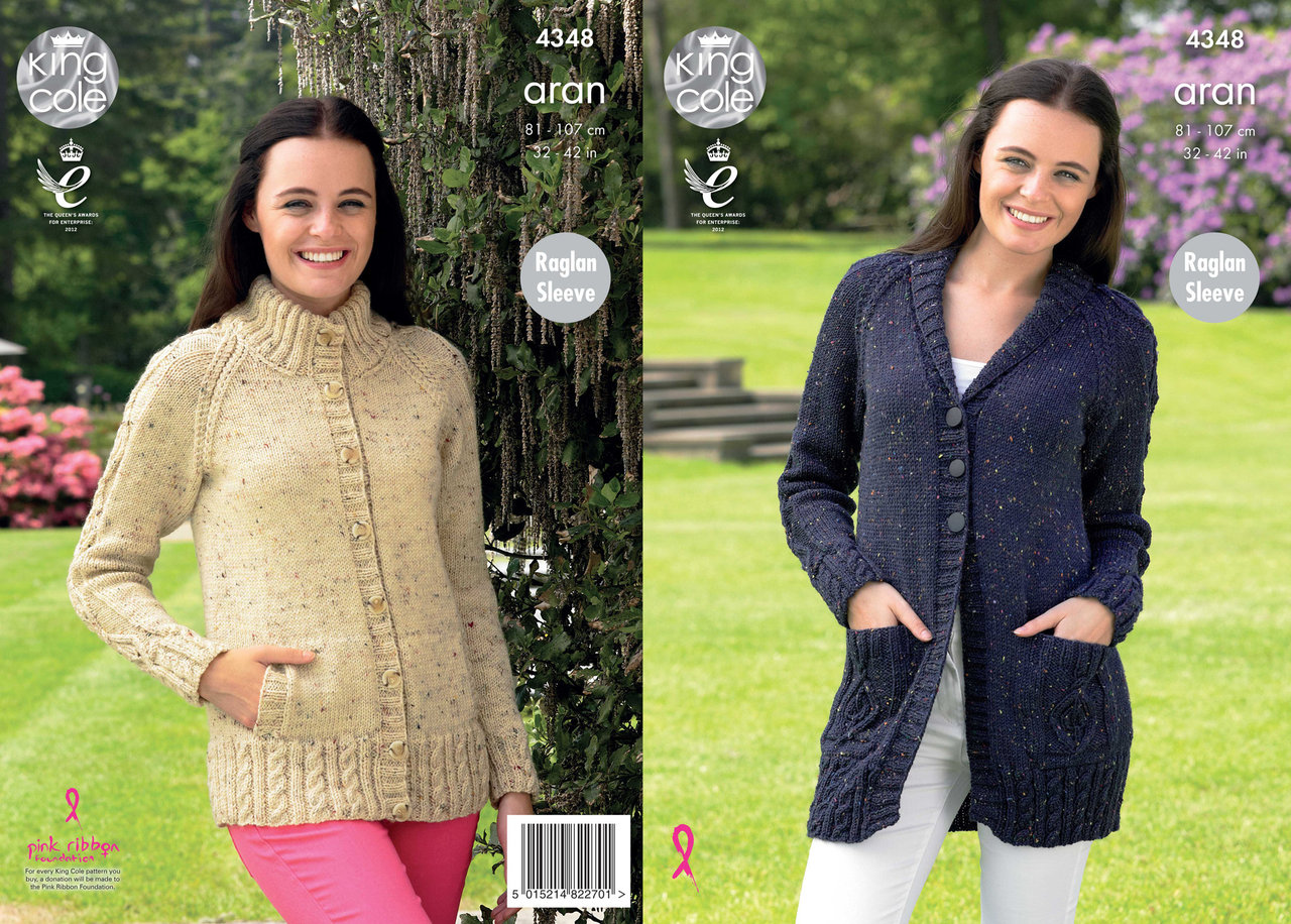 58e45594a King Cole 4348 Knitting Pattern Raglan Sleeve Cardigans in King Cole  Fashion Aran - Athenbys