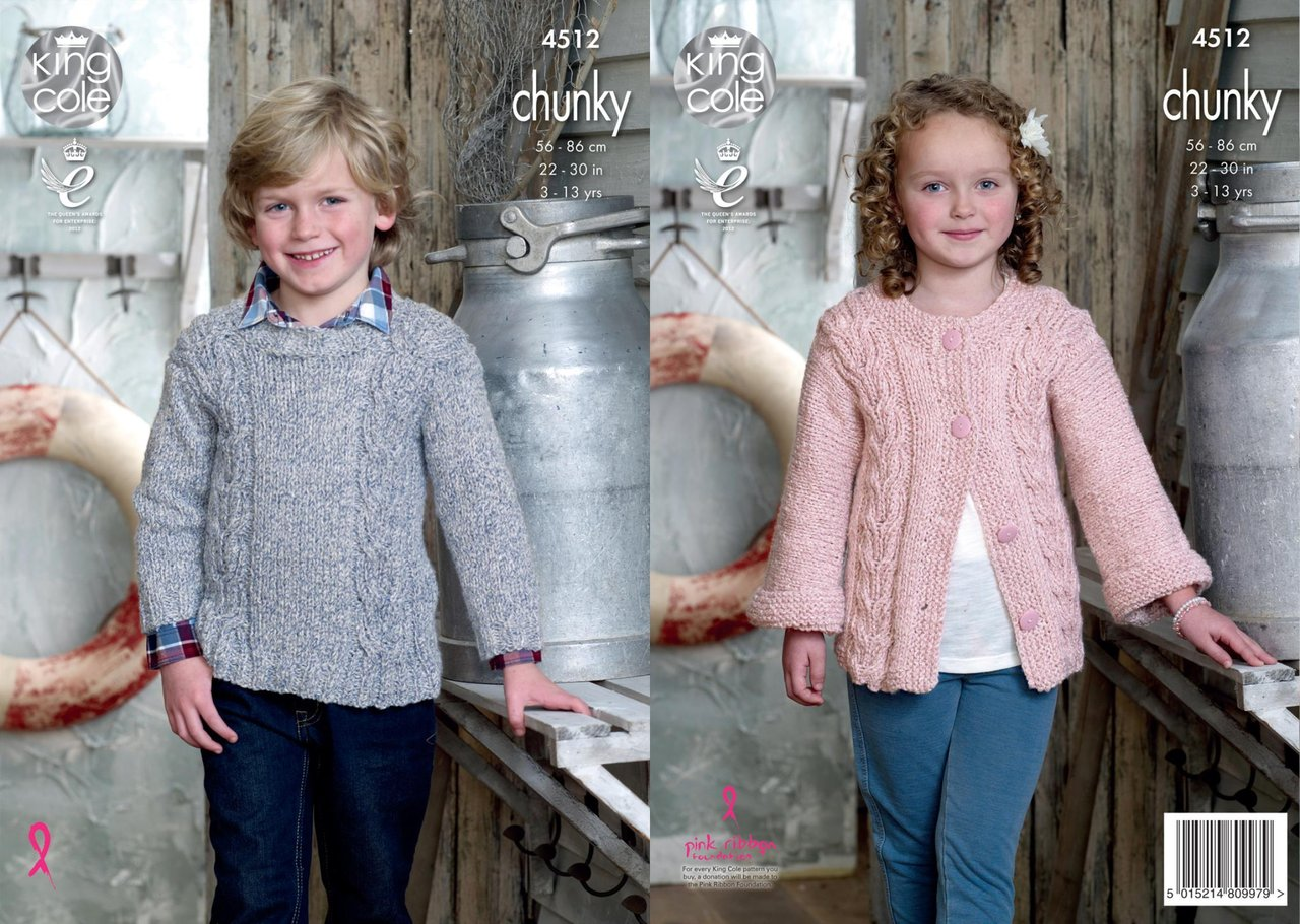 f031361b1620 King Cole 4512 Knitting Pattern Childrens Jacket and Sweater to knit in  Authentic Chunky - Athenbys