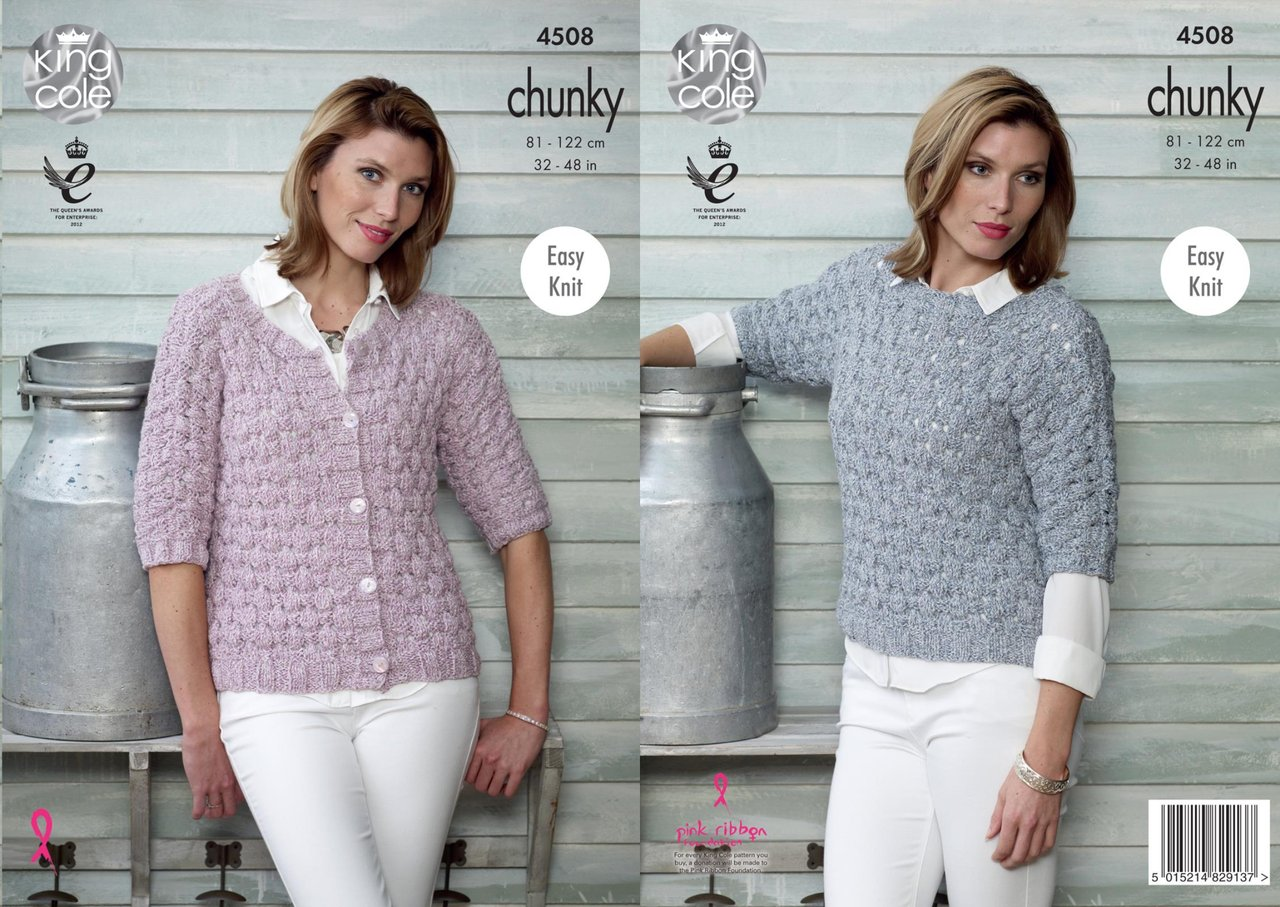 3b2c4180bd95d King Cole 4508 Knitting Pattern Ladies Top and Cardigan to knit in Authentic  Chunky - Athenbys