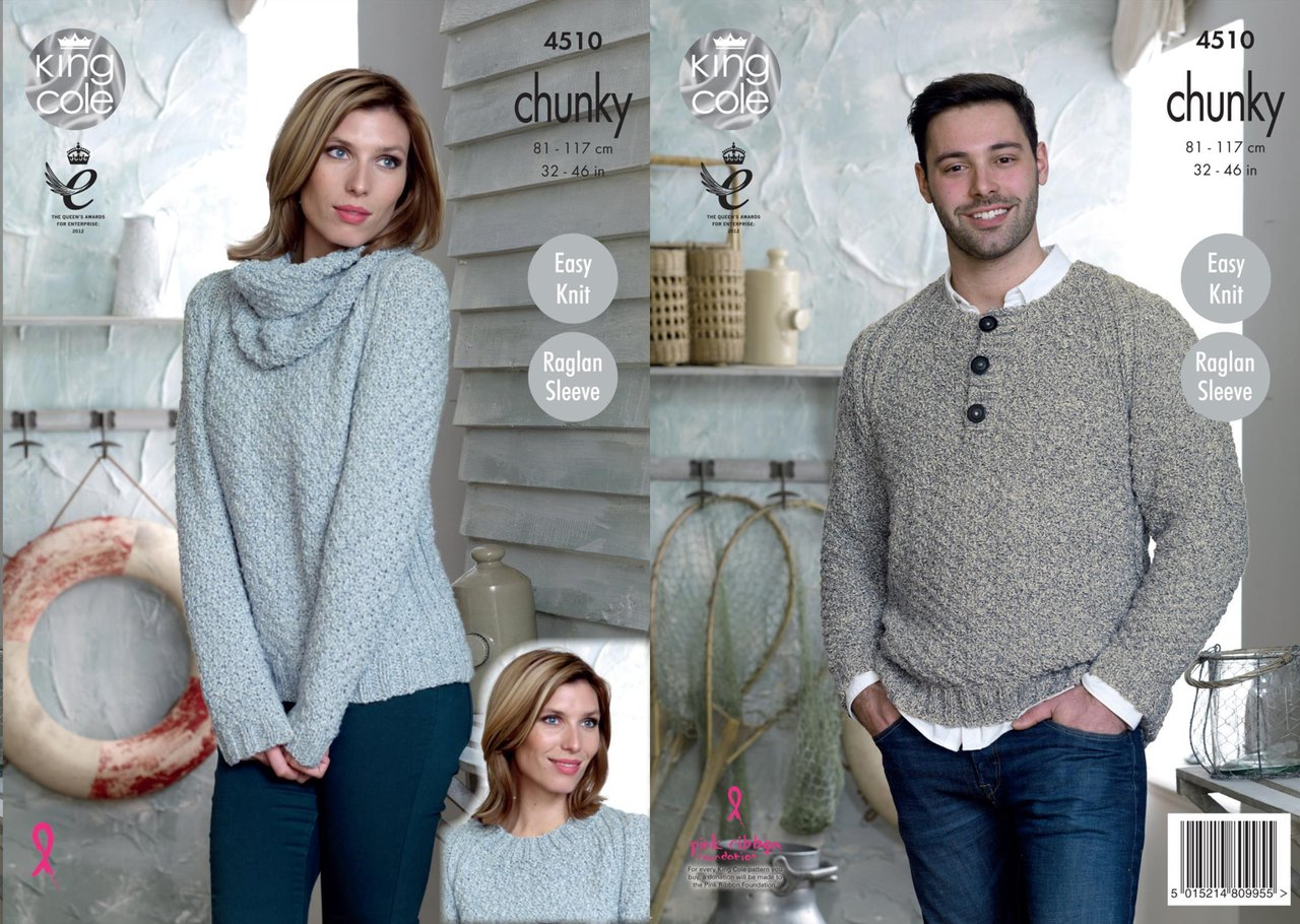 088a1ad9c King Cole 4510 Knitting Pattern Raglan Sleeve Sweaters and Cowl to knit in  Authentic Chunky - Athenbys