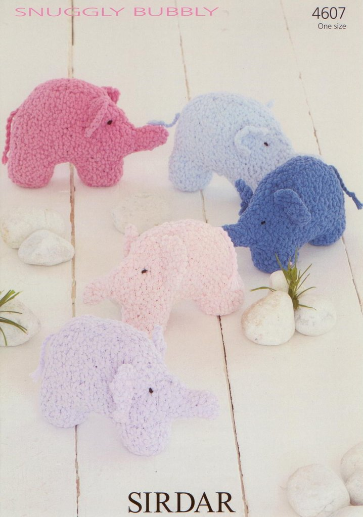 Sirdar Toy Knitting Patterns : Sirdar 4607 Knitting Pattern Toy Elephant to knit in Sirdar Snuggly Bubbly DK...