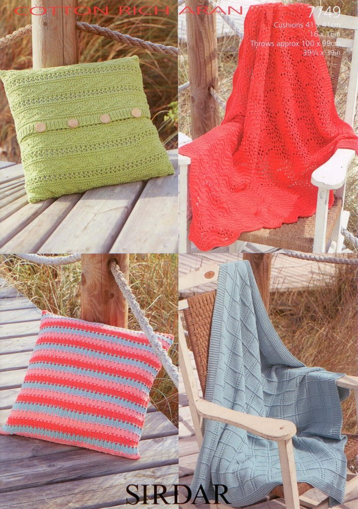 Sirdar 7749 Knitting Pattern Cushion Covers and Throws to knit in Sirdar Cott...