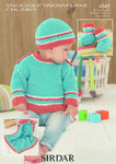 Sirdar 4649 Knitting Pattern Baby Sweater, Hat, Bootees and Blanket in Snuggly Snowflake Chunky