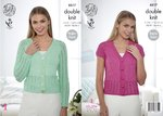 King Cole 4517 Knitting Pattern Ladies Raglan Sleeve Cardigans with Lace Panels in Cottonsoft DK