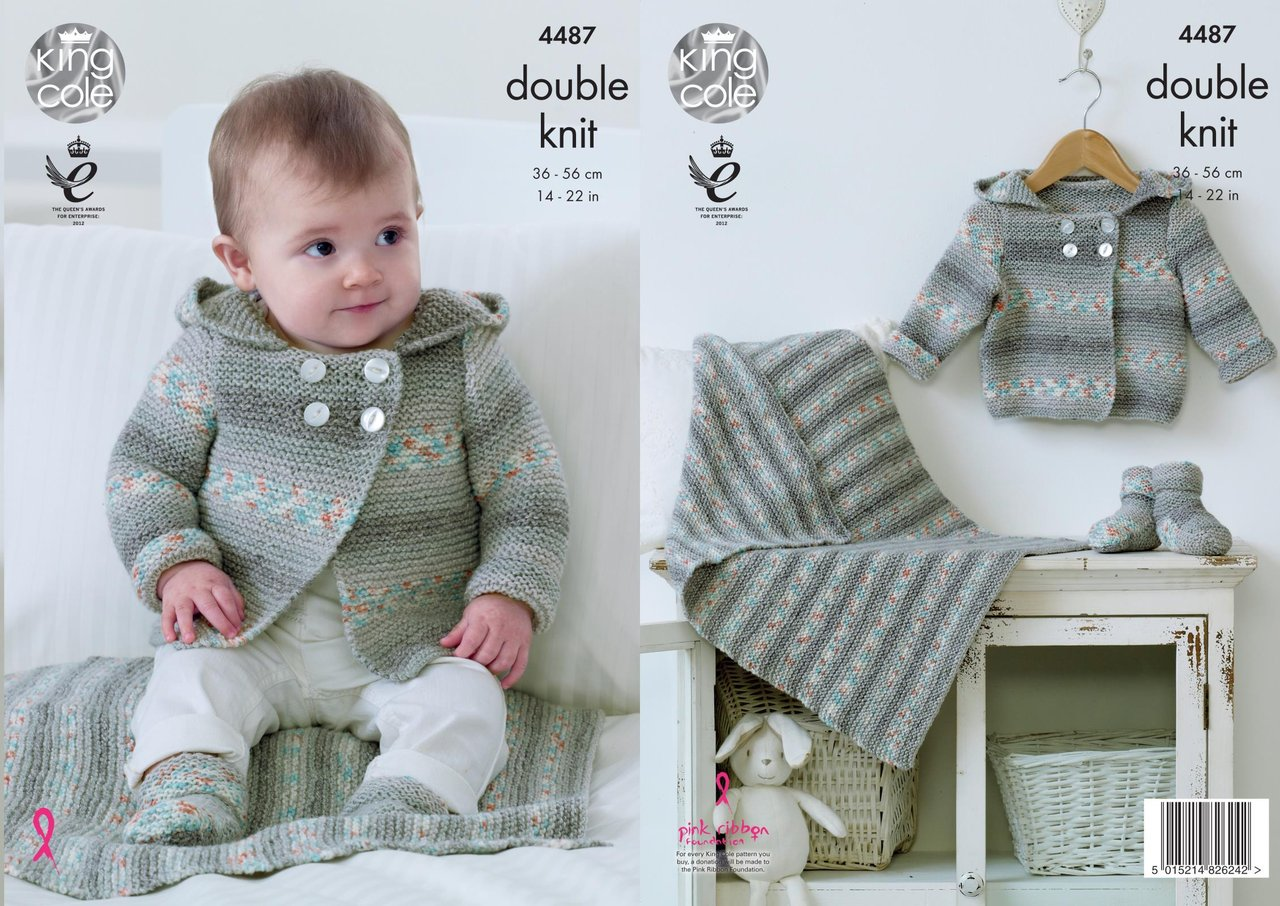 Knitting Pattern Baby Hooded Blanket : King Cole 4487 Knitting Pattern Hooded Jacket, Blanket and Bootees in King Co...