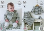 King Cole 4487 Knitting Pattern Hooded Jacket, Blanket and Bootees in King Cole Drifter DK for Baby