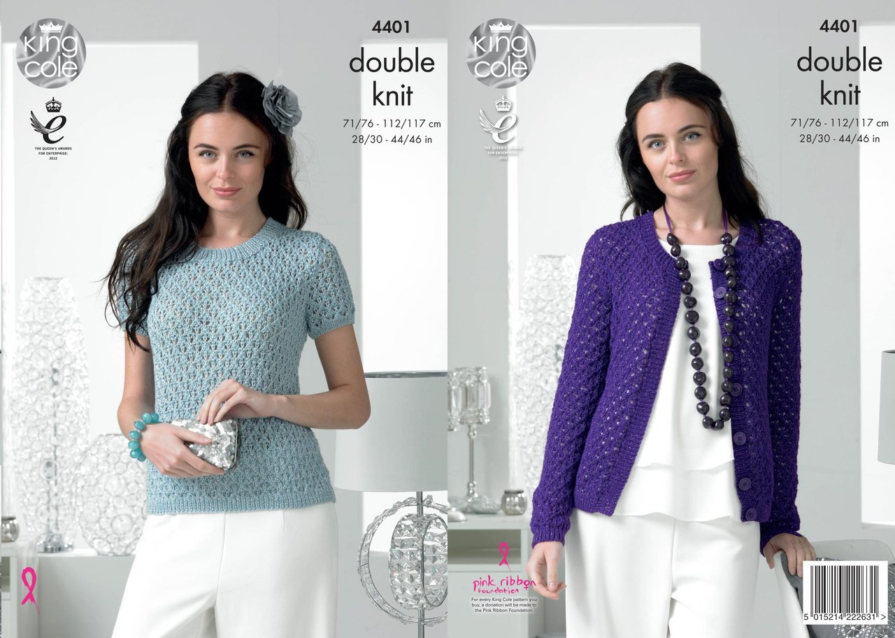 King Cole 4401 Knitting Pattern Ladies Sweater and Cardigan to ...