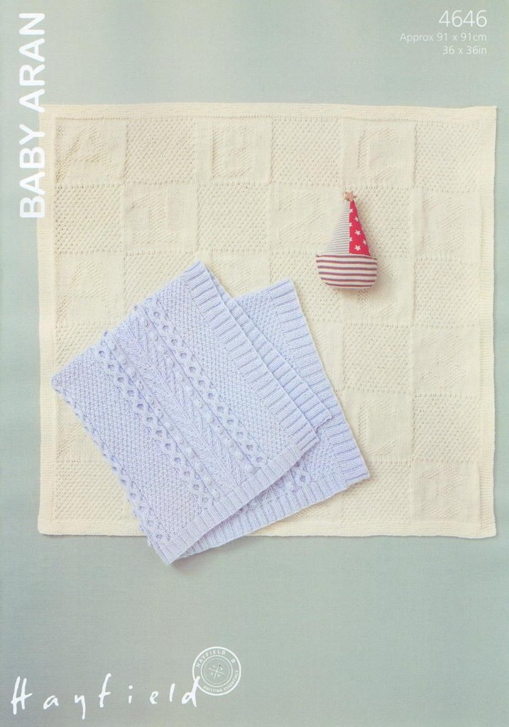 Hayfield Aran Knitting Pattern Books : Hayfield Sirdar 4646 Knitting Pattern Baby Blankets to ...