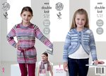 King Cole 4452 Knitting Pattern Girls Tunic Cardigan and Scarf to knit in Drifter DK