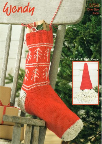 Wendy 5753 Knitting Pattern Fairisle Christmas Stocking and Felted Gnome in Aran