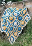 Wendy 5957 Crochet Pattern Flower Garden Throw Aran with Wool