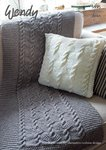 Wendy 5955 Knitting Pattern Throw and Cushions in Aran with Wool