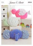 James C Brett JB324 Knitting Pattern Novelty Animal Cushions in james C Brett Flutterby Chunky