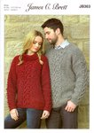 James C Brett JB363 Knitting Pattern Womens and Mens Sweaters in Rustic Aran