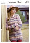 James C Brett JB370 Knitting Pattern Womens Round Neck Sweater in Marble Chunky