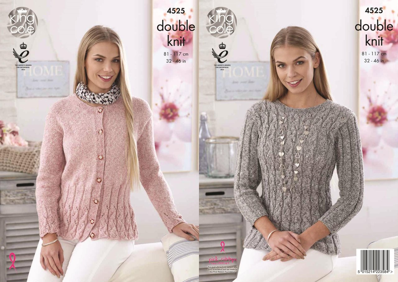 2748f9542f64d King Cole 4525 Knitting Pattern Ladies Sweater and Cardigan in Authentic DK  - Athenbys