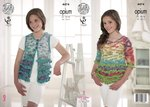 King Cole 4474 Knitting Pattern Girls Waistcoat and Sweater in Opium