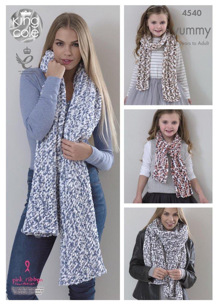 King Cole 4540 Knitting Pattern Ladies Shawls Girls Scarves To