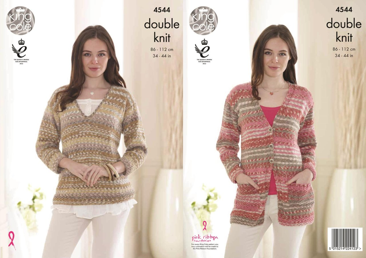 King Cole 4544 Knitting Pattern Ladies Cardigan and Sweater Drifter ...