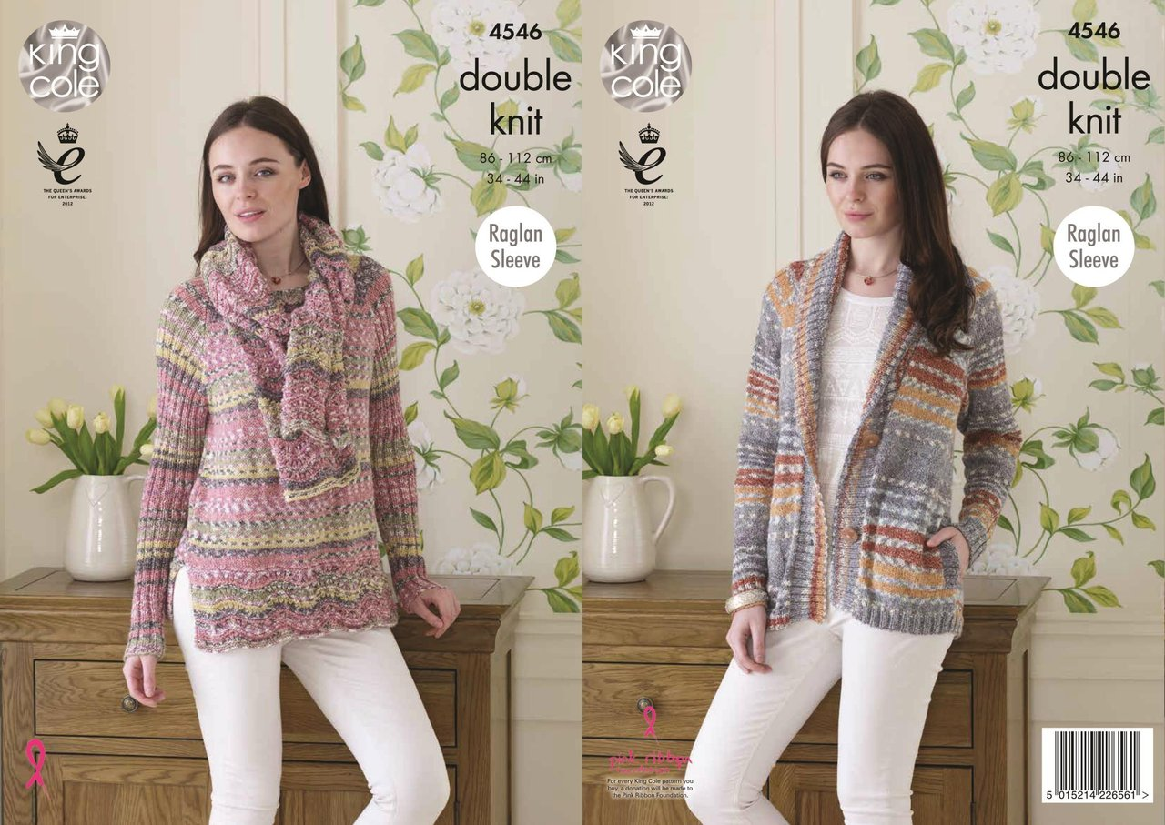c21dbc5cf King Cole 4546 Knitting Pattern Ladies Cardigan Sweater and Scarf ...