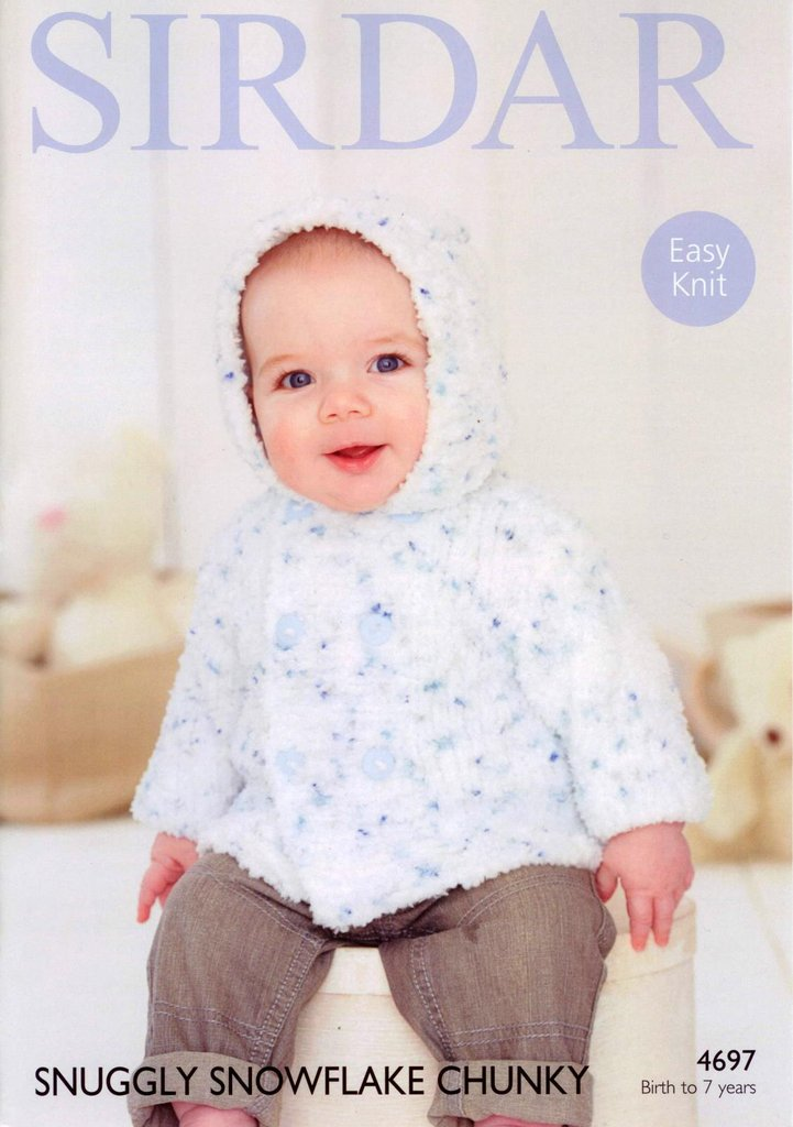 Sirdar 4697 Knitting Pattern Babies Boys Jacket In Snuggly Snowflake