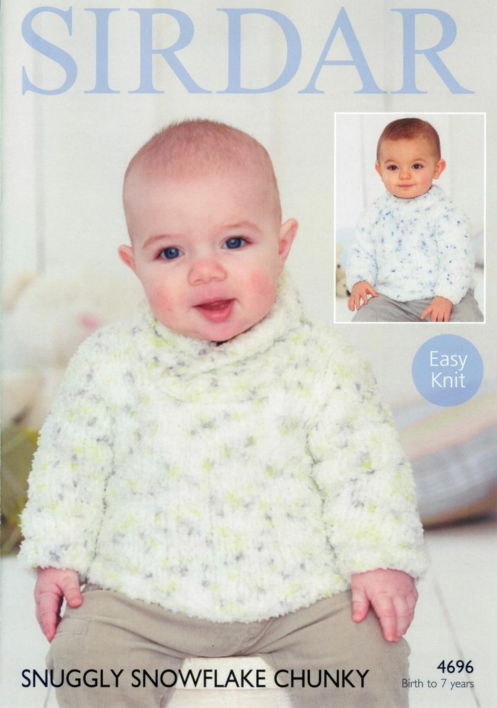 Sirdar 4696 Knitting Pattern Babies Boys Sweaters In Snuggly
