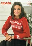 Wendy 5756 Knitting Pattern Ladies Reindeer and Stars Sweater in Wendy Merino DK