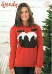 Wendy 5757 Knitting Pattern Christmas Pudding Sweater in Wendy Mode DK