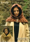 Wendy 5750 Knitting Pattern Hooded Snood and Over Sized Cowl in Serenity Super Chunky