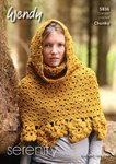 Wendy 5836 Crochet Pattern Ladies Poncho with Funnel Neck and Hat in Wendy Serenity Chunky