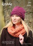 Wendy 5829 Knitting Pattern Oversize Cowl, Cable Hat & Moss Stitch Scarf in Aspire Chunky