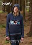Wendy 5833 Knitting Pattern Ladies Hearts Hoodie and Sweater in Wendy Serenity Chunky