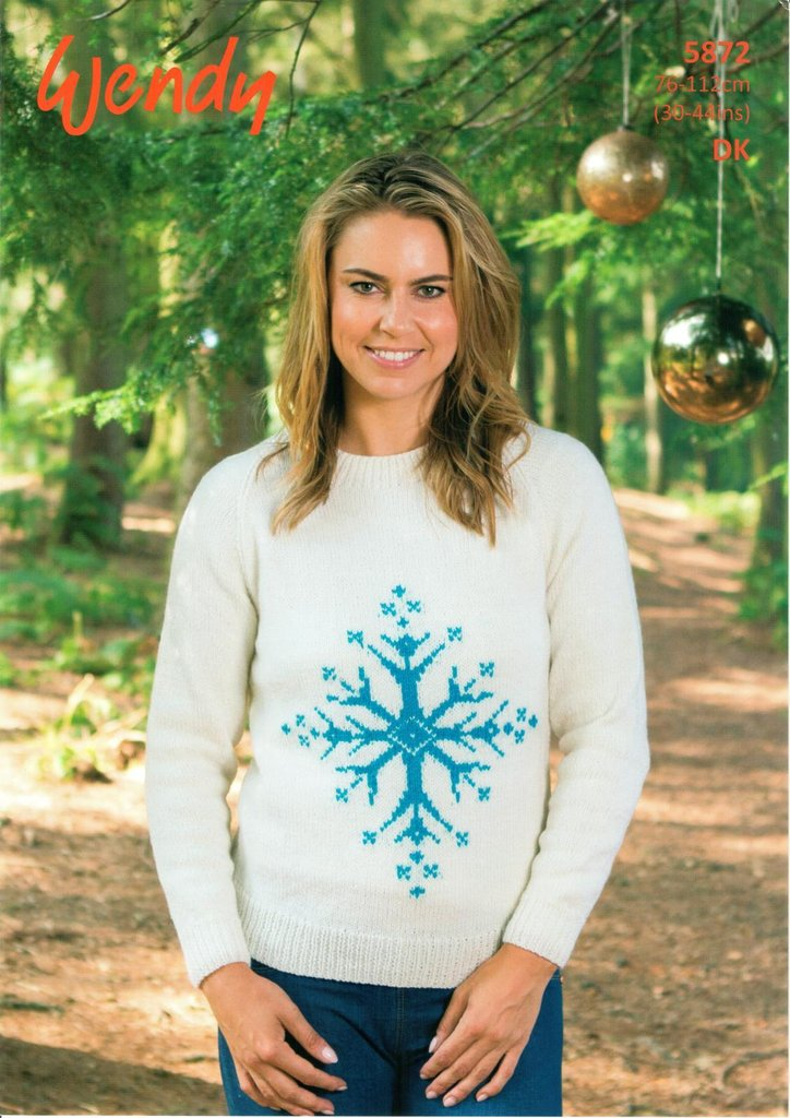 Wendy 5872 Knitting Pattern Christmas Sweater With Icicle Motif In