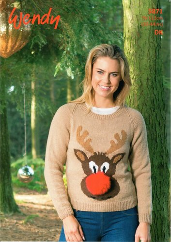 Wendy 5871 Knitting Pattern Christmas Sweater with Rudolf Motif in Mode DK