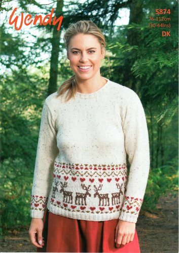 Wendy 5874 Knitting Pattern Sweater with Reindeer Fairisle Border in Mode DK